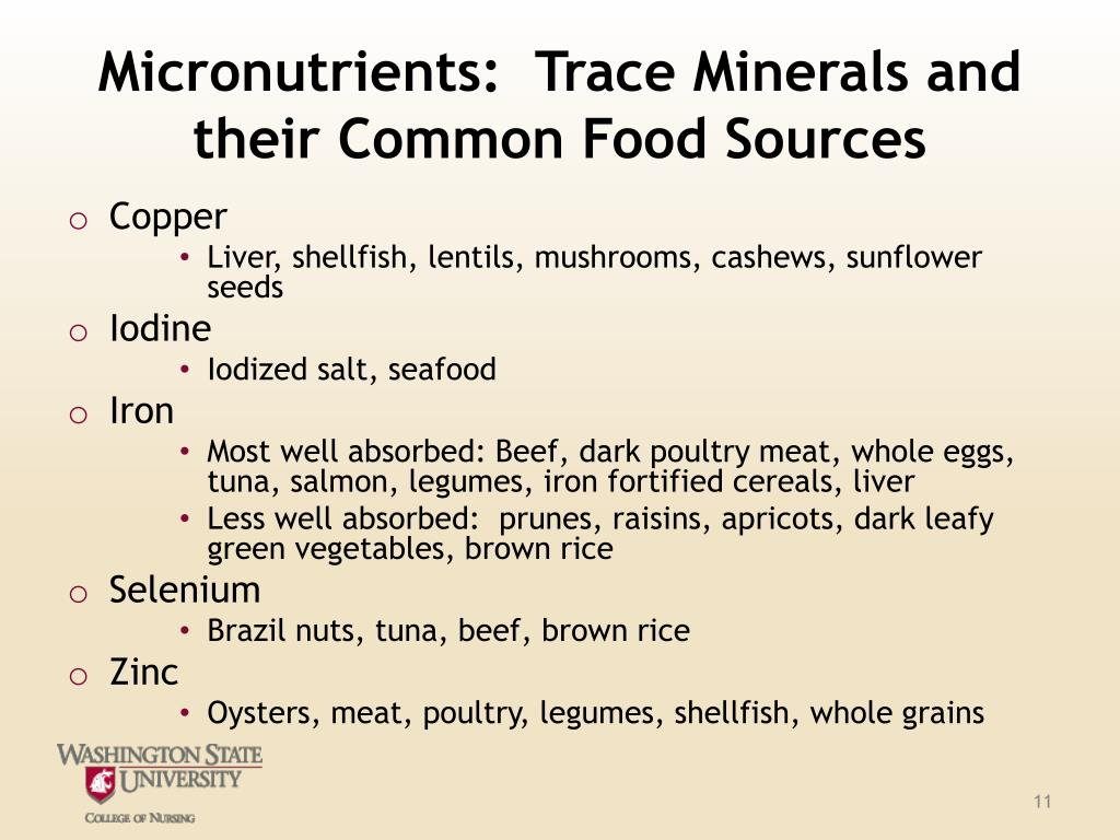 Micronutrients:  Trace Minerals and their Common Food Sources