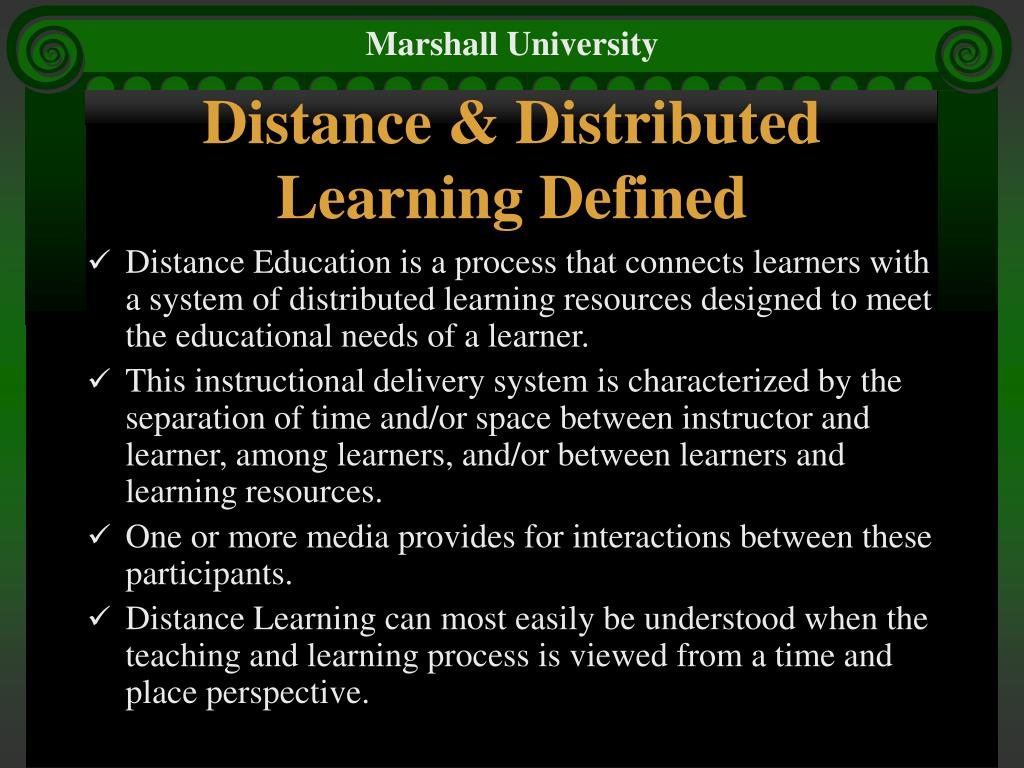 Distance & Distributed Learning Defined