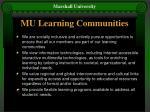 mu learning communities