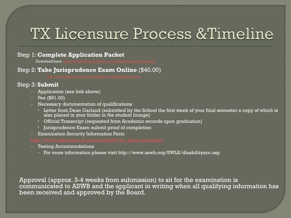 TX Licensure Process &Timeline