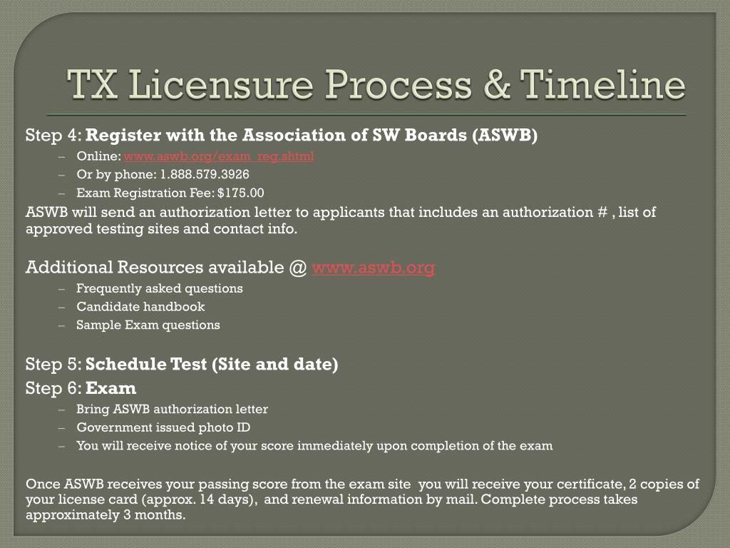 TX Licensure Process & Timeline