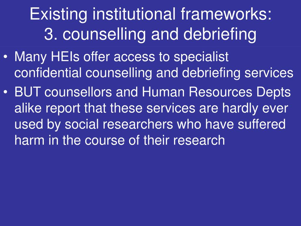 Existing institutional frameworks:
