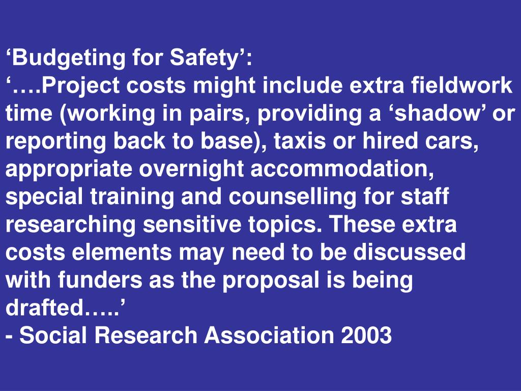 'Budgeting for Safety':