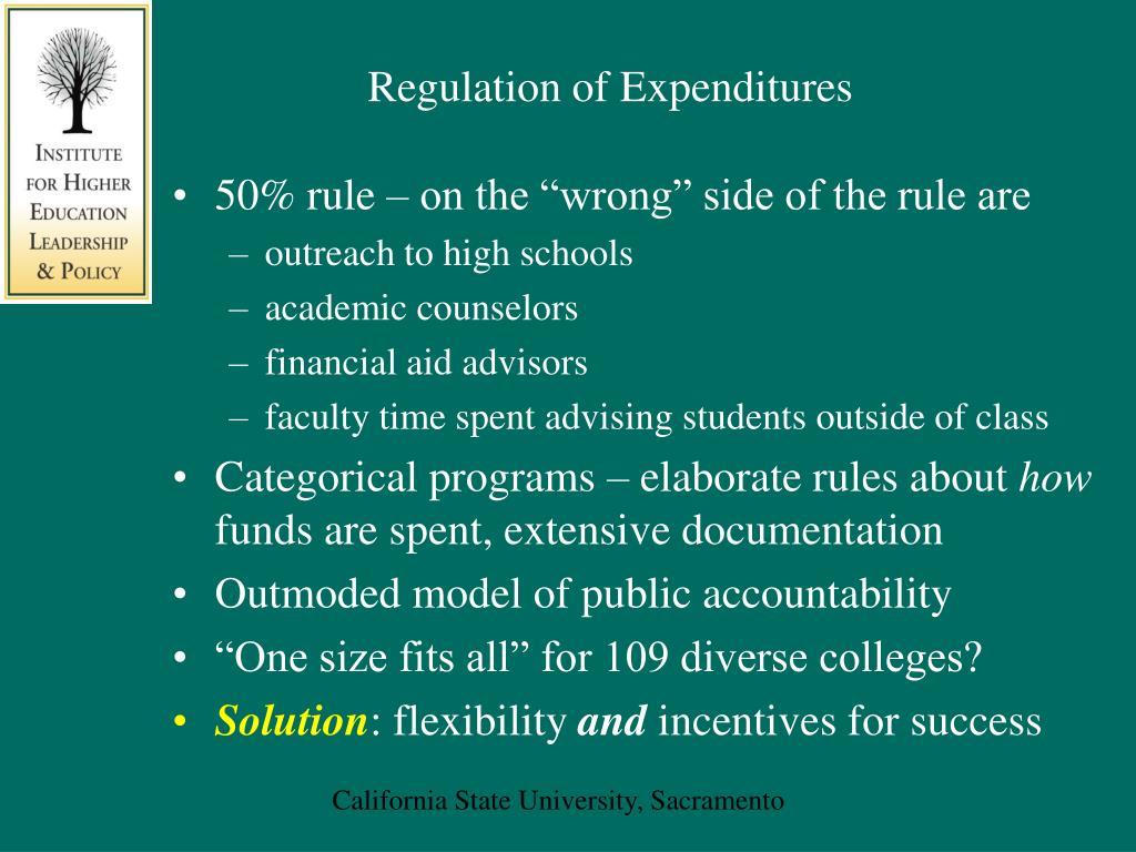 Regulation of Expenditures