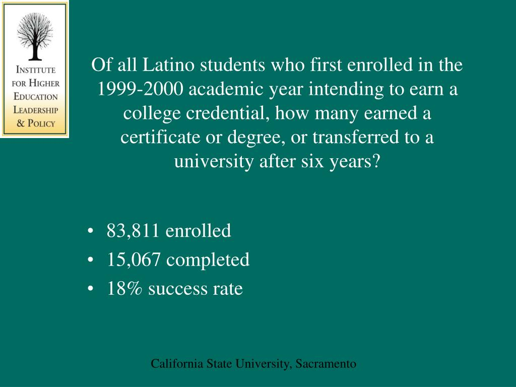 Of all Latino students who first enrolled in the 1999-2000 academic year intending to earn a college credential, how many earned a certificate or degree, or transferred to a university after six years?
