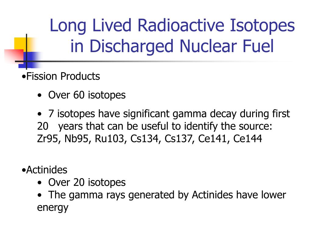Long Lived Radioactive Isotopes in Discharged Nuclear Fuel