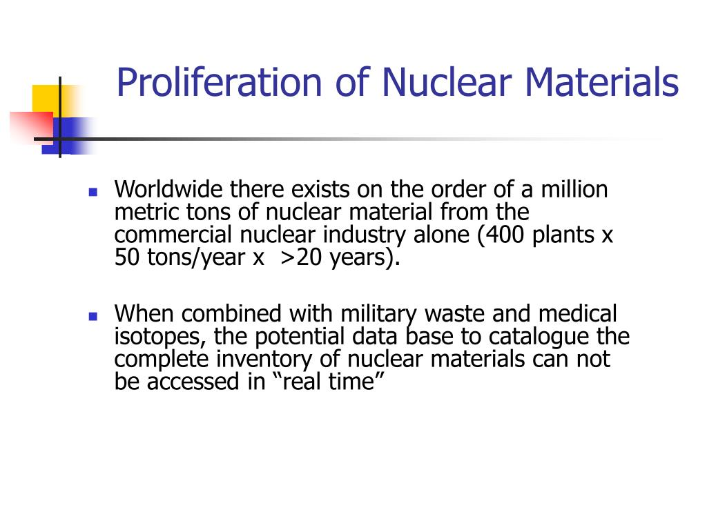 Proliferation of Nuclear Materials