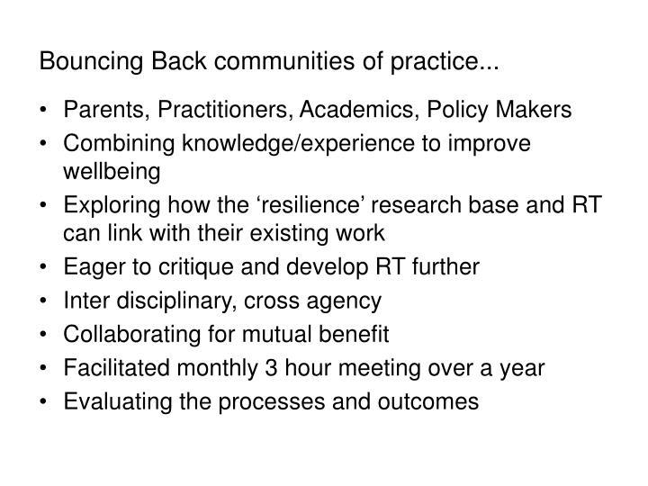Bouncing Back communities of practice...