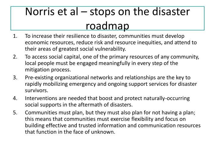 Norris et al – stops on the disaster roadmap