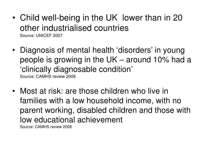 Child well-being in the UK  lower than in 20 other industrialised countries