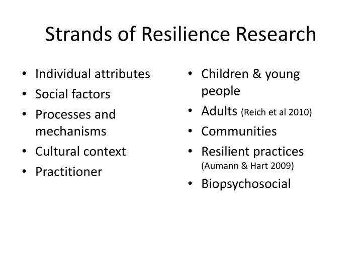 Strands of Resilience Research