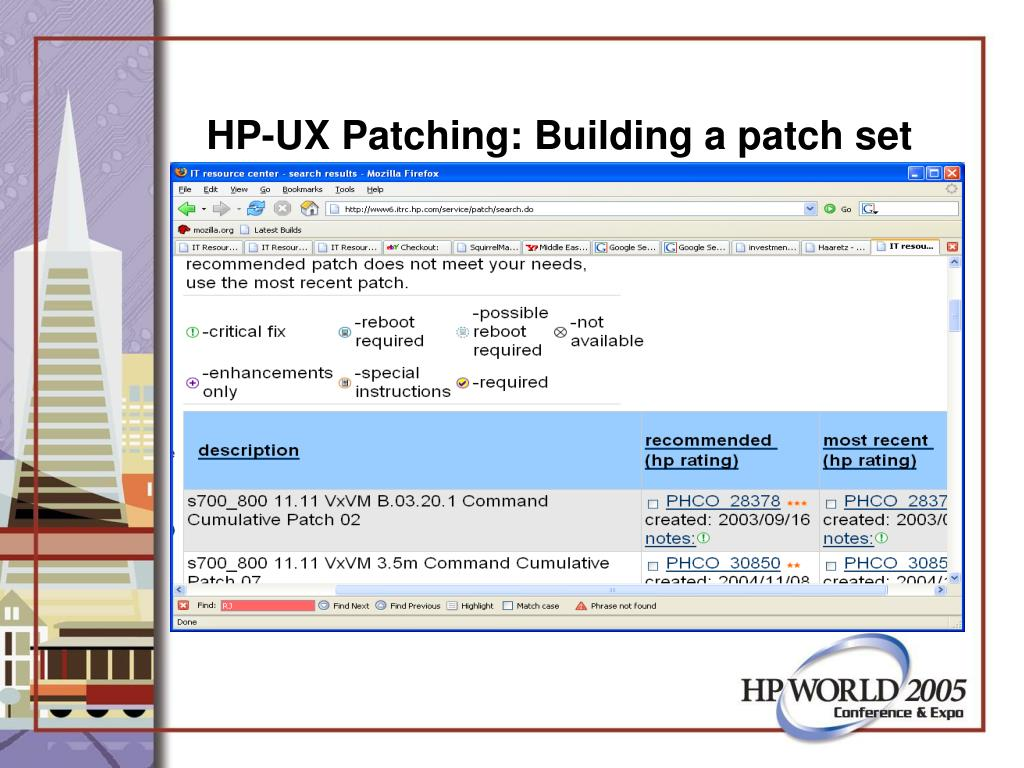 HP-UX Patching: Building a patch set