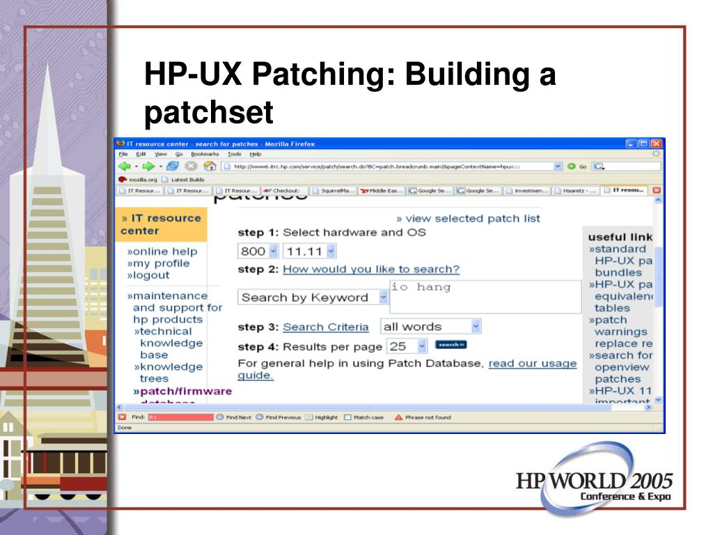 HP-UX Patching: Building a patchset