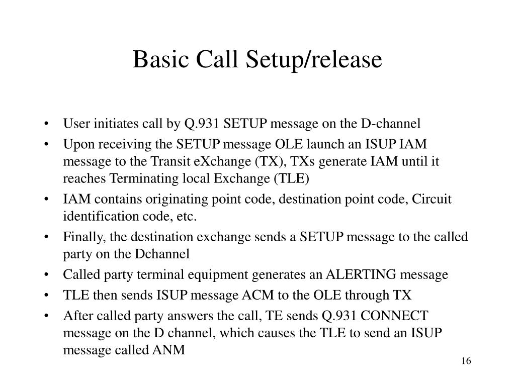 Basic Call Setup/release