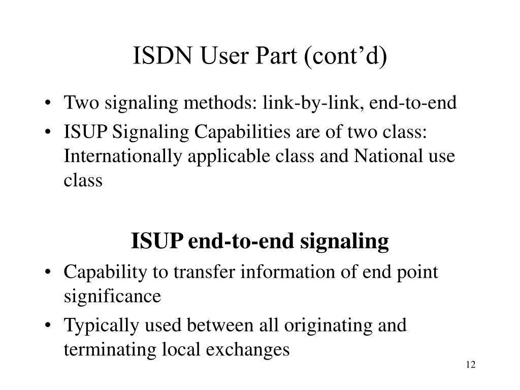 ISDN User Part (cont'd)