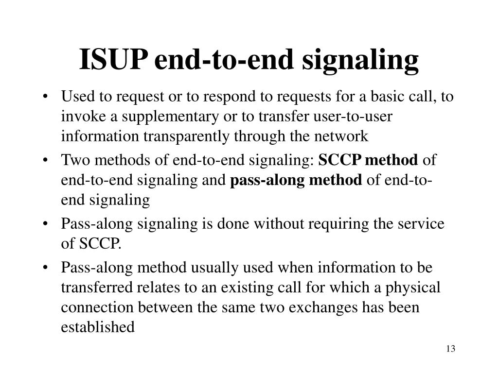 ISUP end-to-end signaling