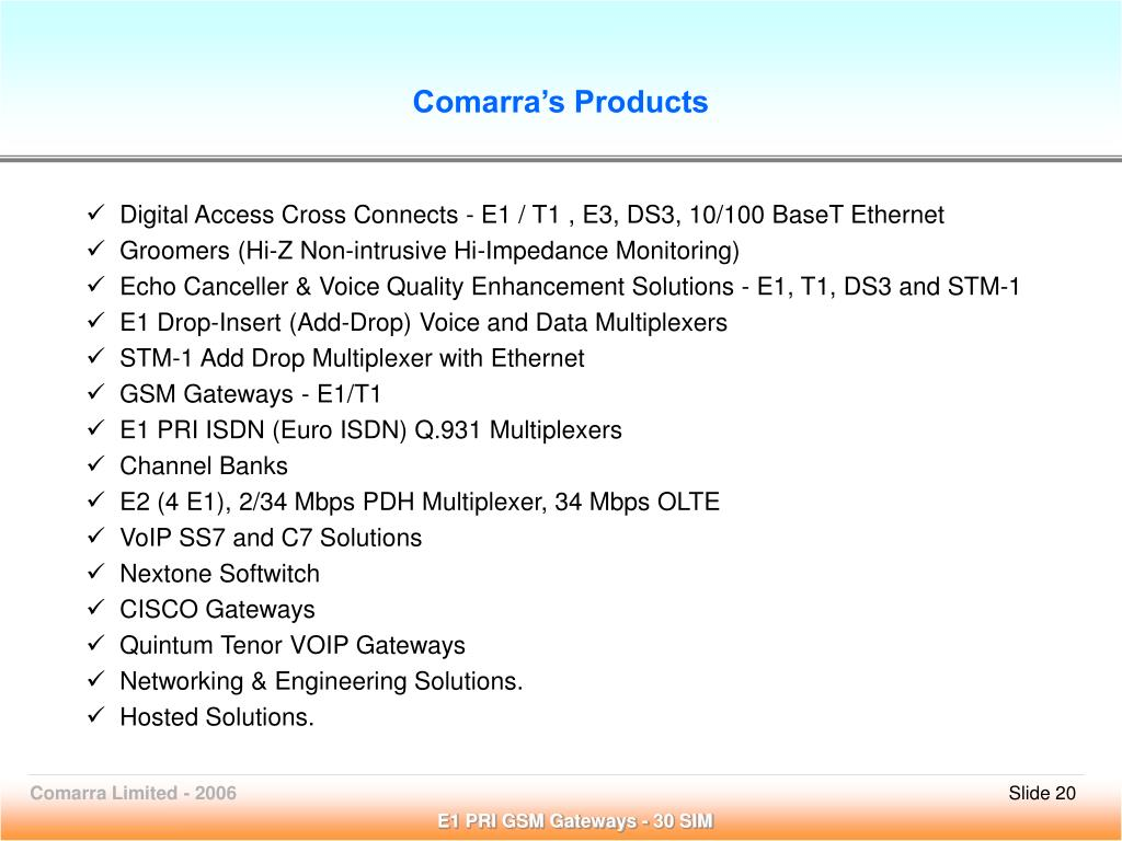 Comarra's Products