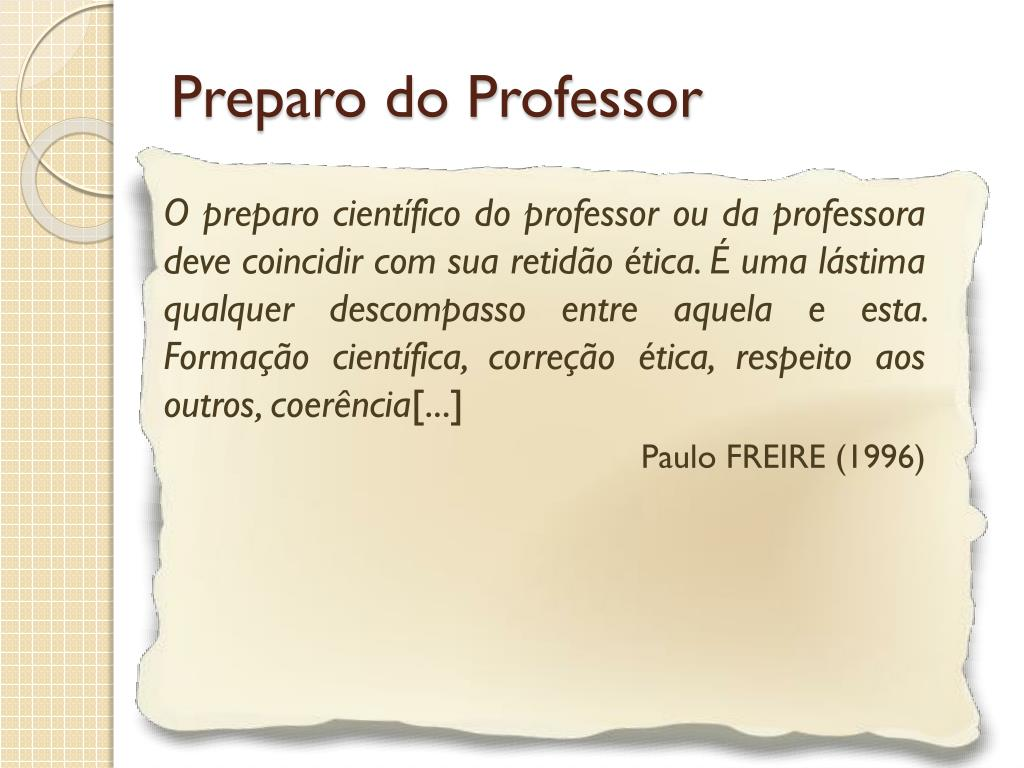 Preparo do Professor