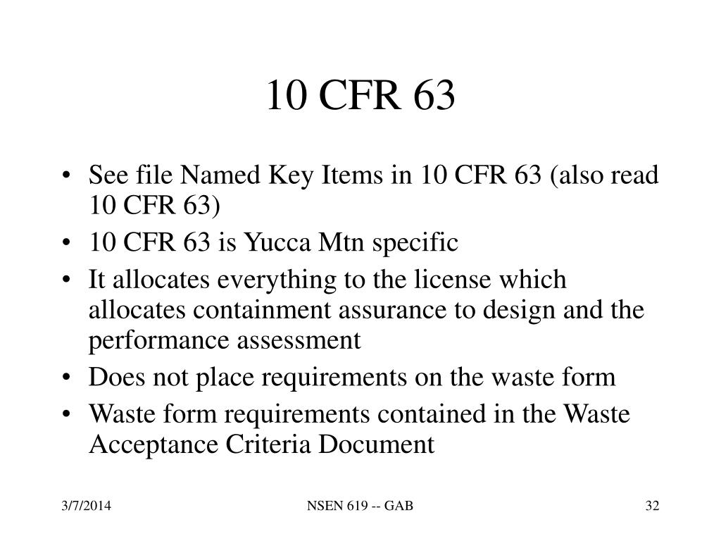 10 CFR 63