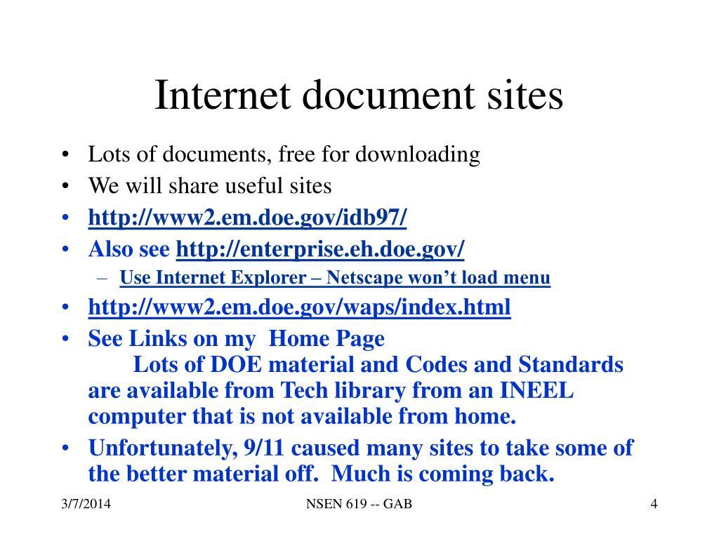 Internet document sites
