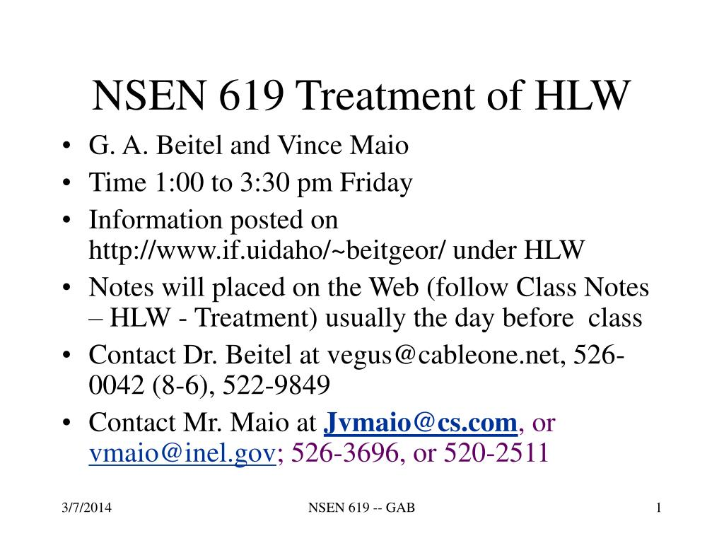 NSEN 619 Treatment of HLW