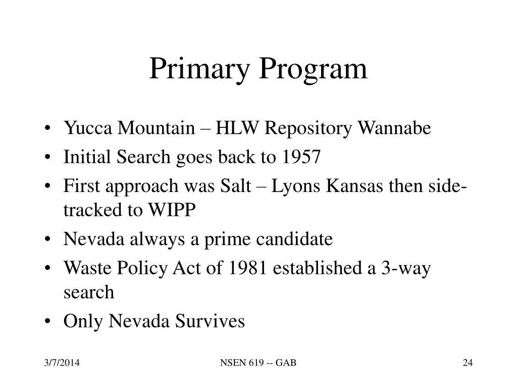 Primary Program