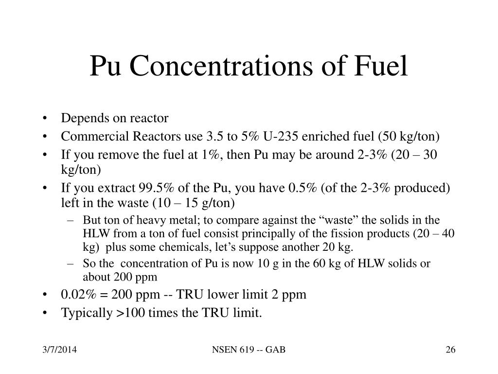 Pu Concentrations of Fuel