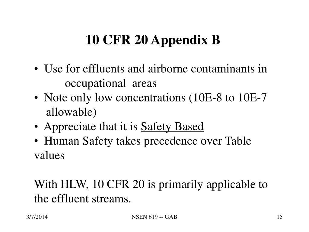10 CFR 20 Appendix B