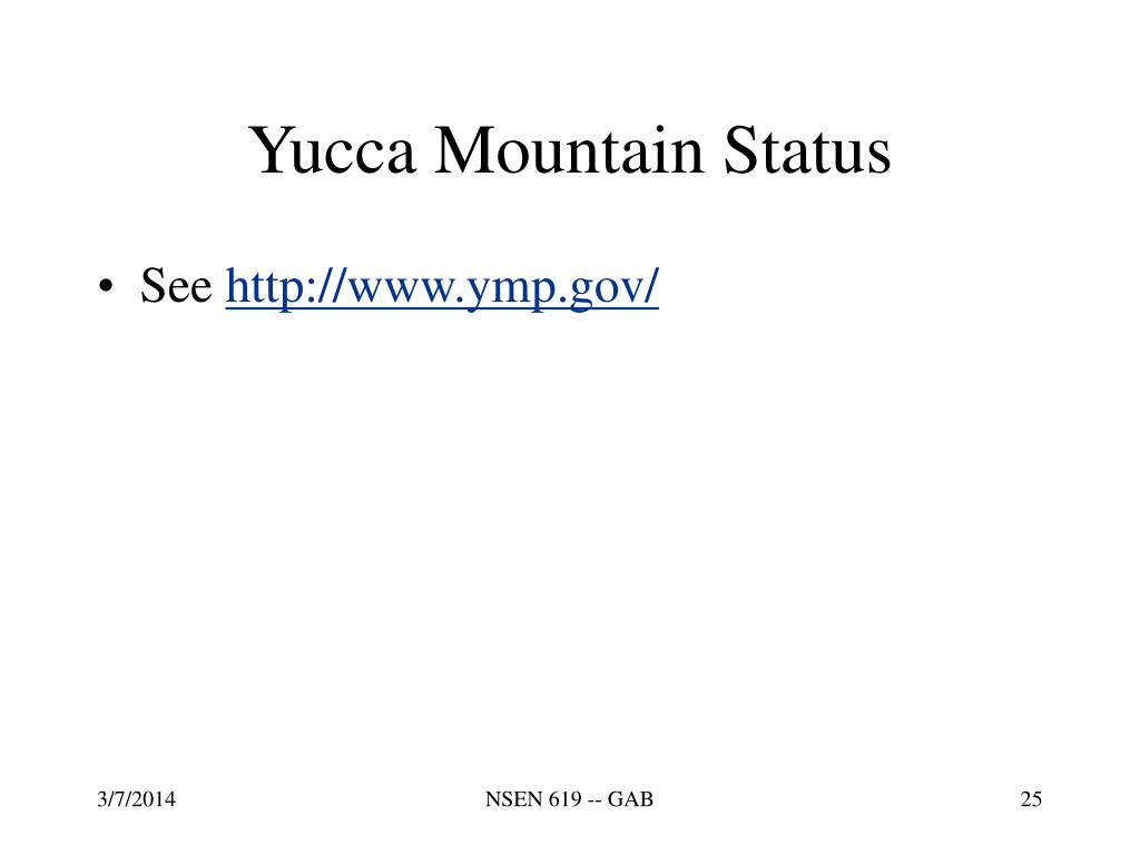 Yucca Mountain Status