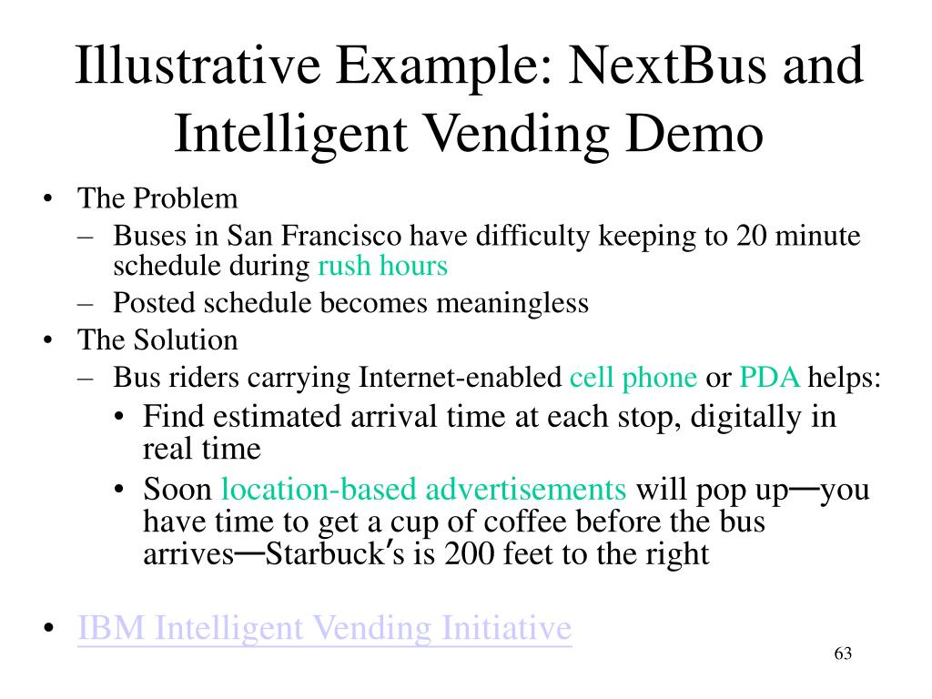 Illustrative Example: NextBus and Intelligent Vending Demo
