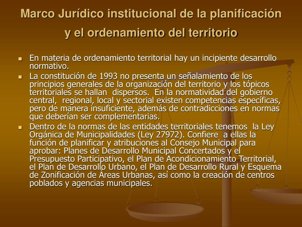 Marco Jurídico institucional de la planificación y el ordenamiento del territorio