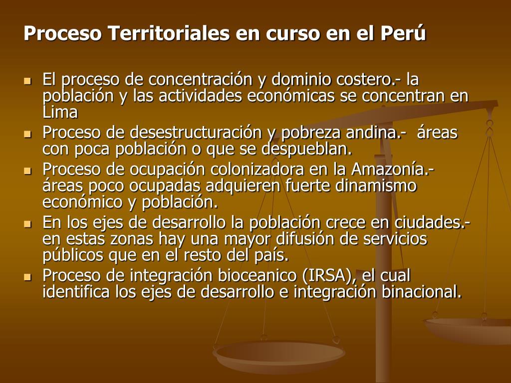 Proceso Territoriales en curso en el Perú
