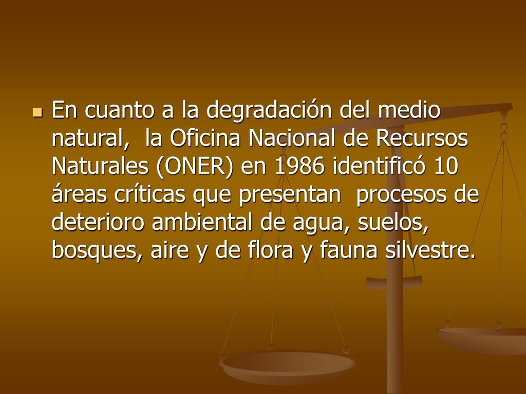 En cuanto a la degradación del medio natural,  la Oficina Nacional de Recursos Naturales (ONER) en 1986 identificó 10 áreas críticas que presentan  procesos de deterioro ambiental de agua, suelos, bosques, aire y de flora y fauna silvestre.