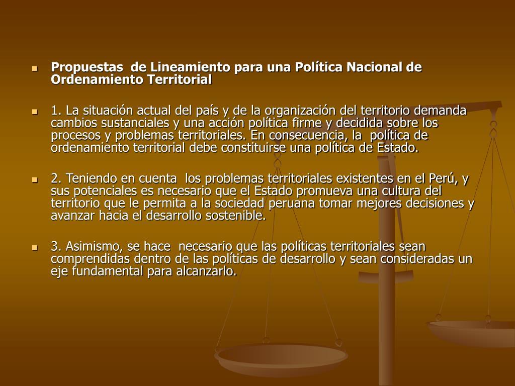 Propuestas  de Lineamiento para una Política Nacional de Ordenamiento Territorial