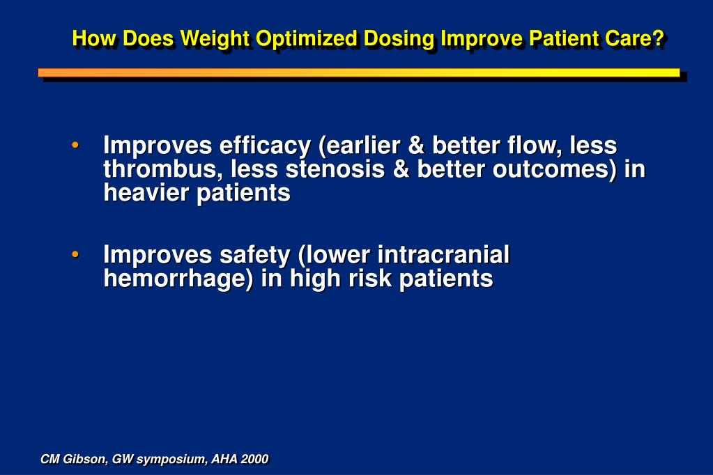 How Does Weight Optimized Dosing Improve Patient Care?