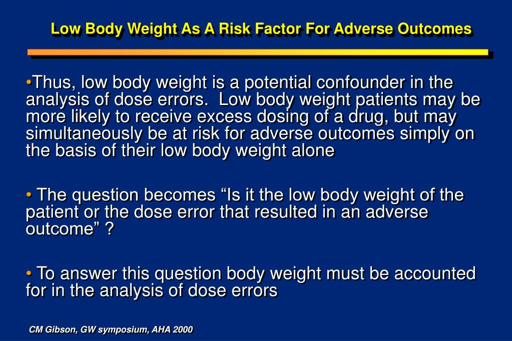 Low Body Weight As A Risk Factor For Adverse Outcomes