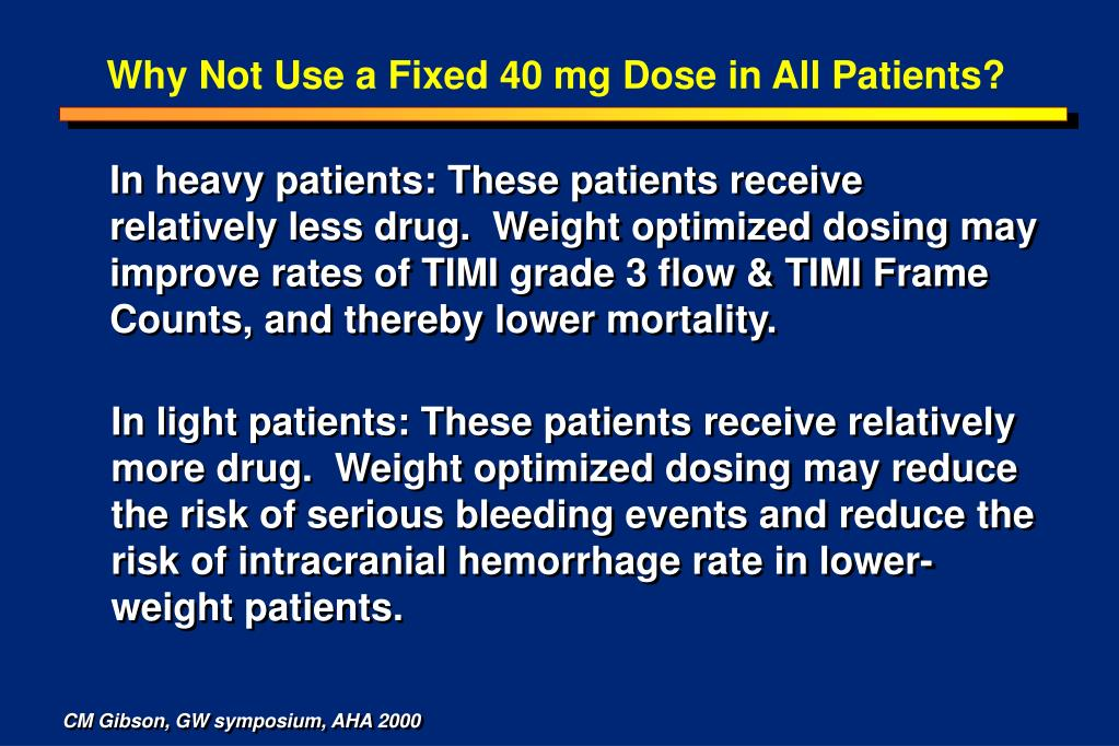 Why Not Use a Fixed 40 mg Dose in All Patients?