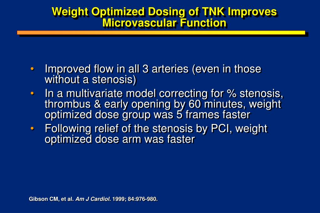 Weight Optimized Dosing of TNK Improves Microvascular Function