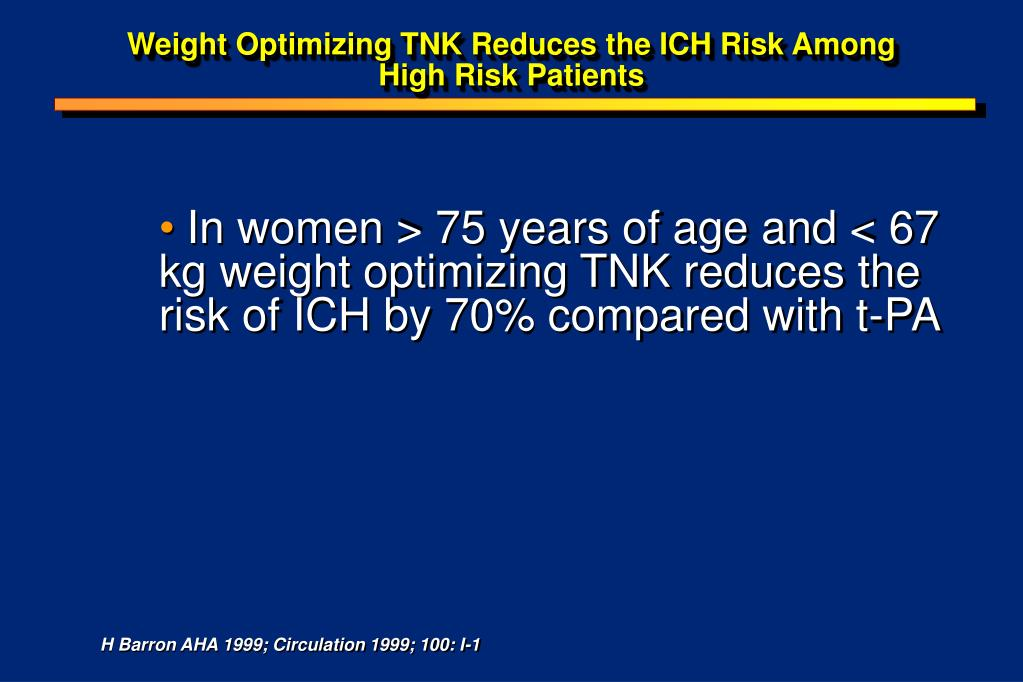 Weight Optimizing TNK Reduces the ICH Risk Among High Risk Patients