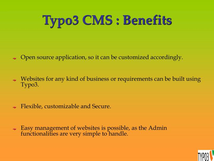 Typo3 cms benefits