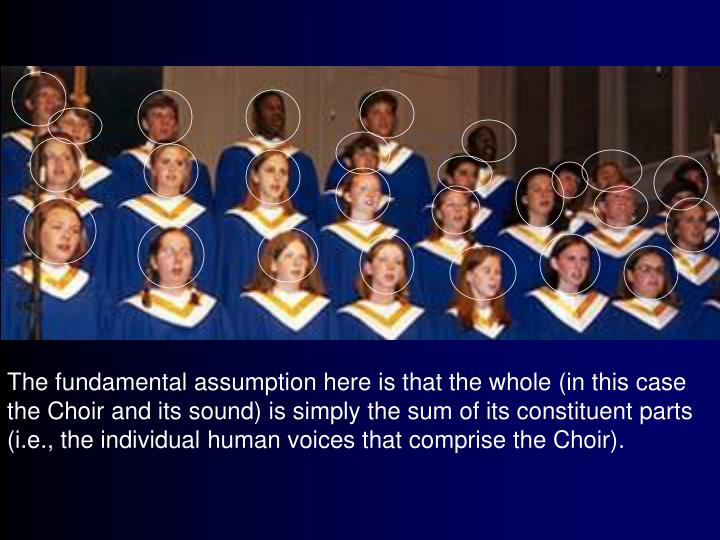 The fundamental assumption here is that the whole (in this case the Choir and its sound) is simply the sum of its constituent parts (i.e., the individual human voices that comprise the Choir).