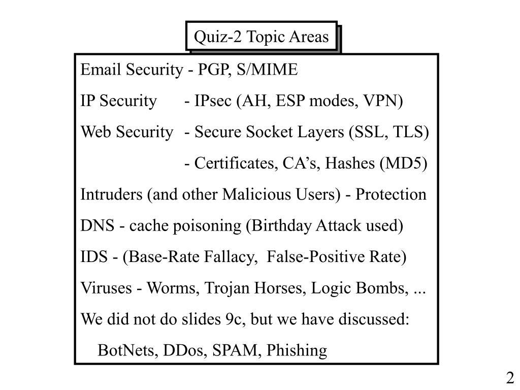 Quiz-2 Topic Areas