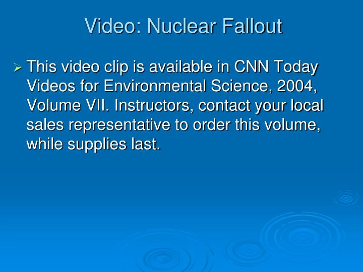 Video nuclear fallout