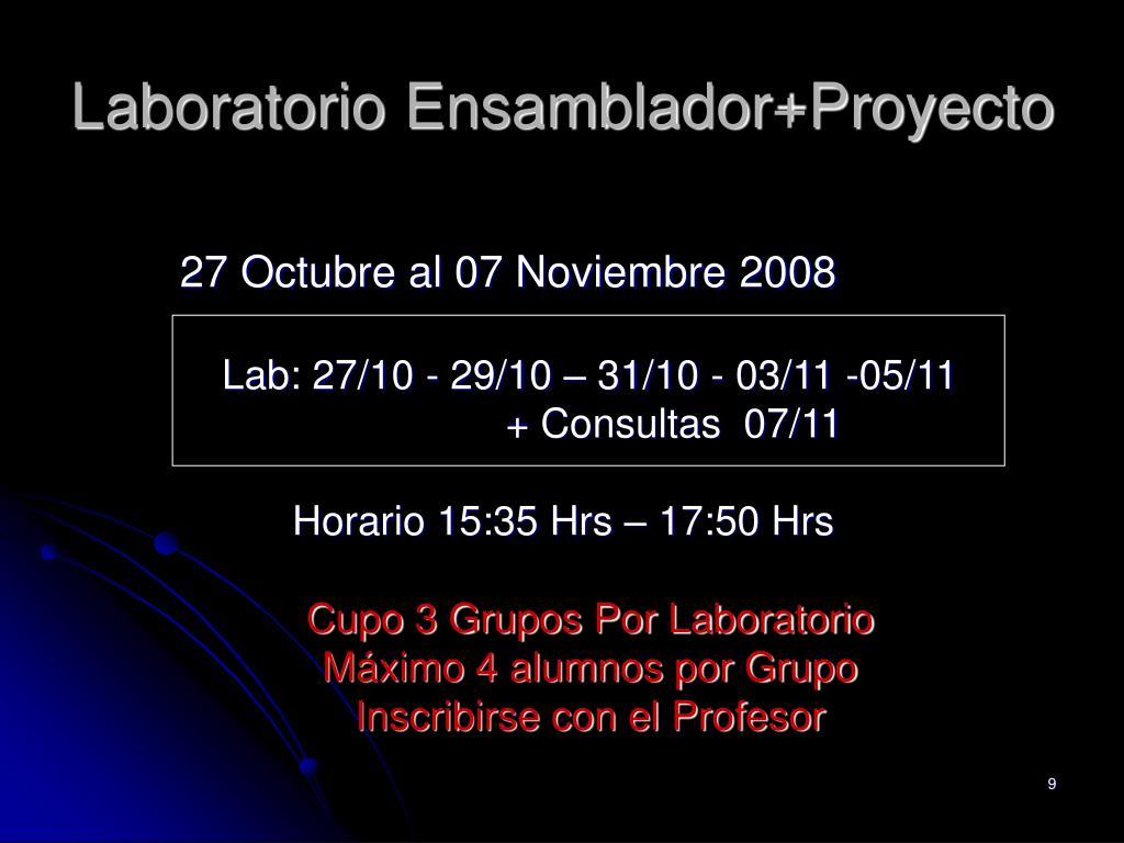 Laboratorio Ensamblador+Proyecto