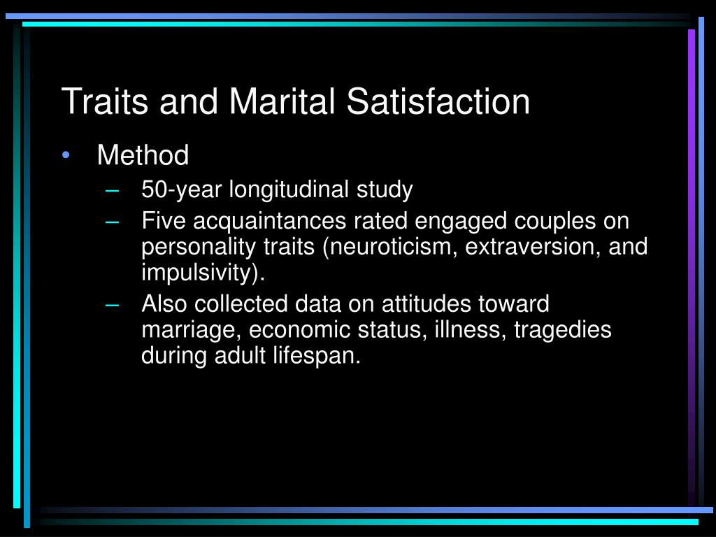 marital satisfaction This study aimed to investigate the factors affecting the quality of life and marital  satisfaction of married nurses and nursing assistant in three.