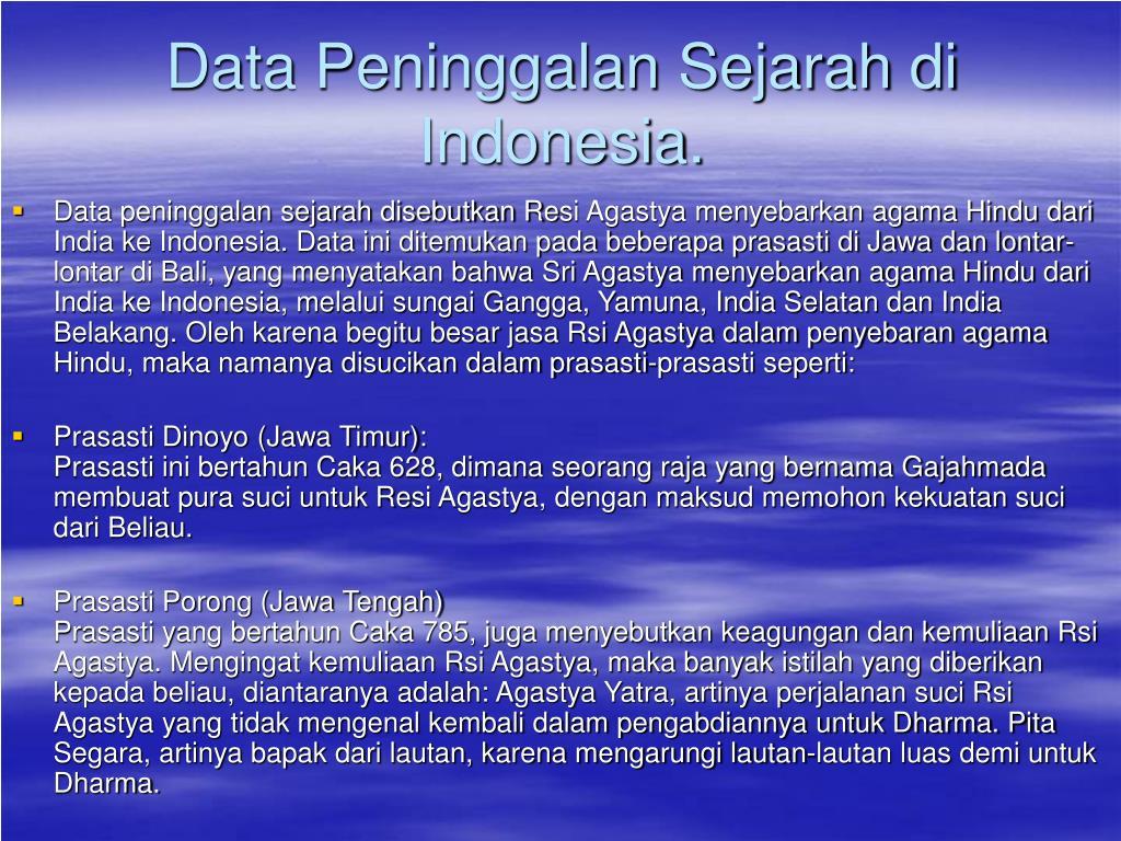 Data Peninggalan Sejarah di Indonesia.
