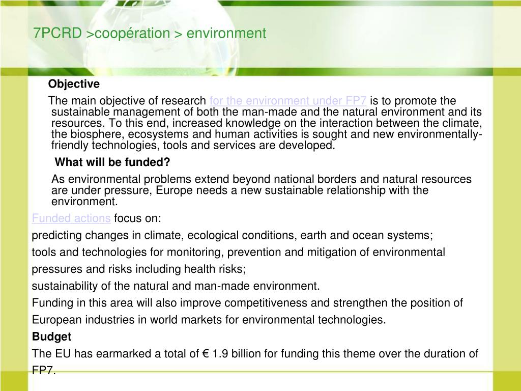 7PCRD >coopération > environment
