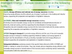 intelligent energy europe covers action in the following fields