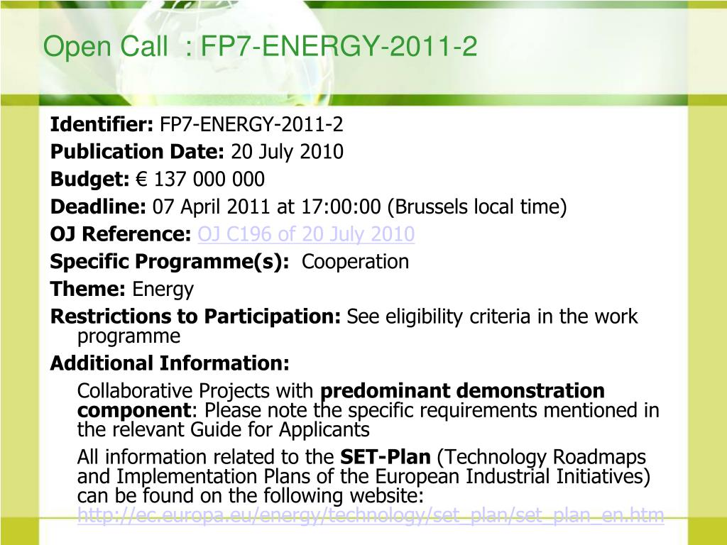 Open Call  : FP7-ENERGY-2011-2