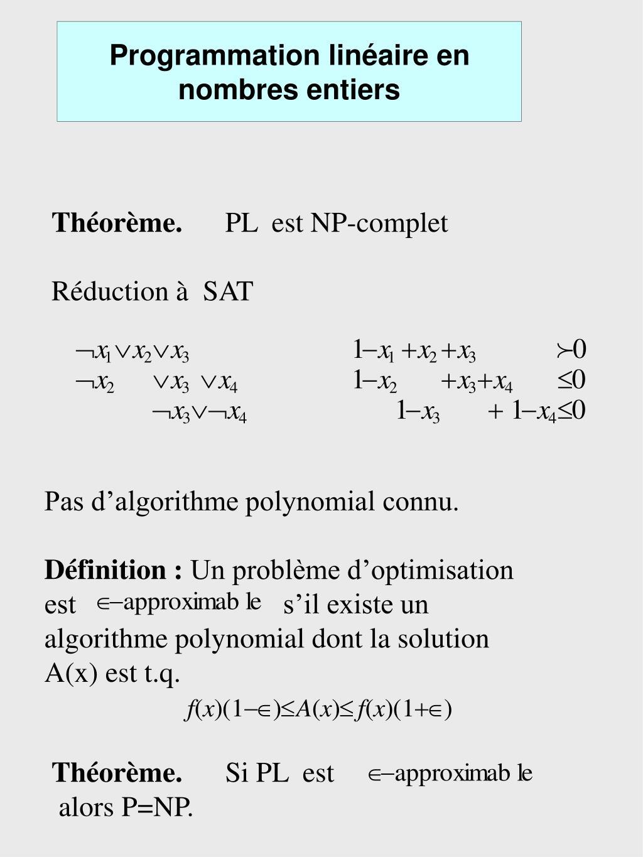 Programmation linéaire en nombres entiers